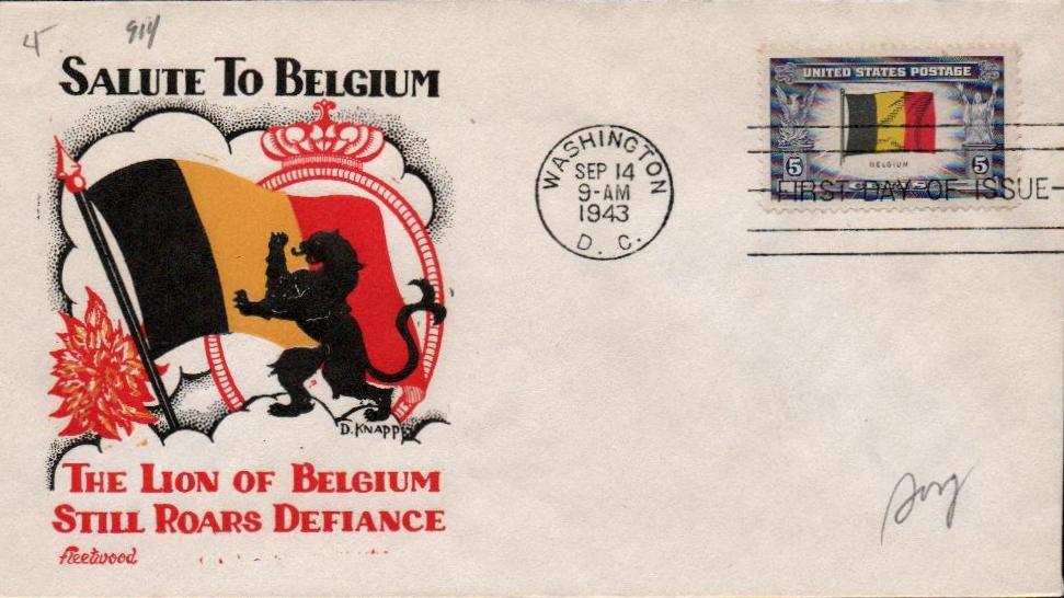 1943 Overrun Countries: 5c Flag of Belgium