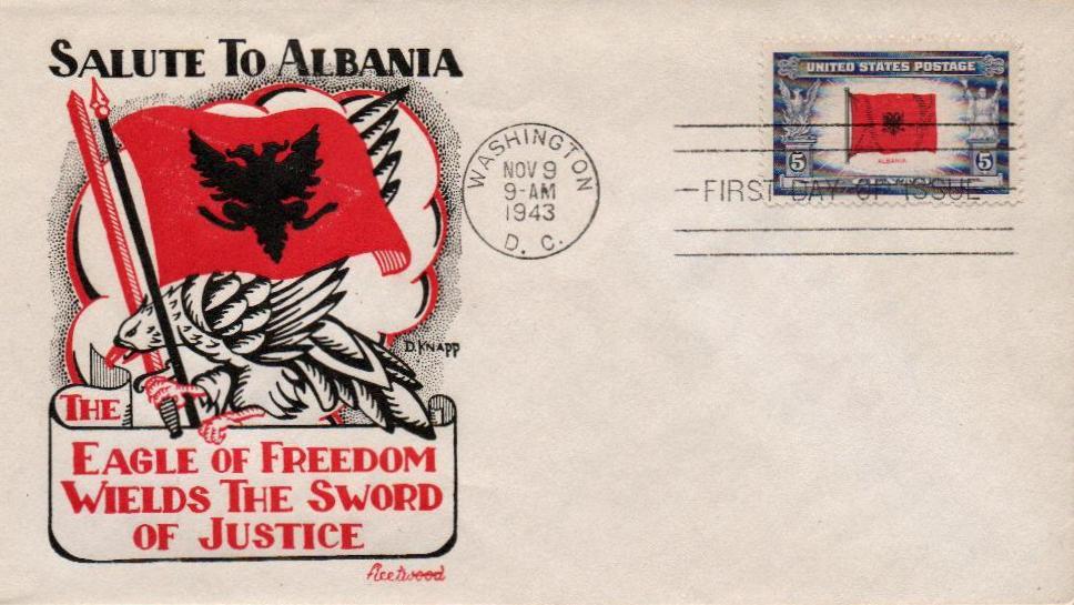 1943 Overrun Countries: 5c Flag of Albania