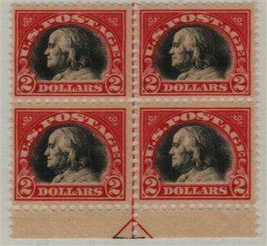 1920 $2 Franklin, carmine black