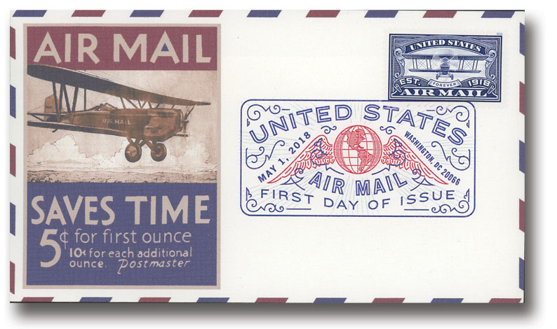 2018 First-Class Forever Stamp -  Blue Air Mail Centenary