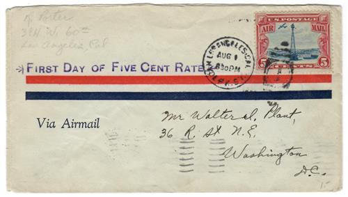 1928 #C11 5c Beacon on Rocky Mountains, First Day of 5c Rate August 11, 1928
