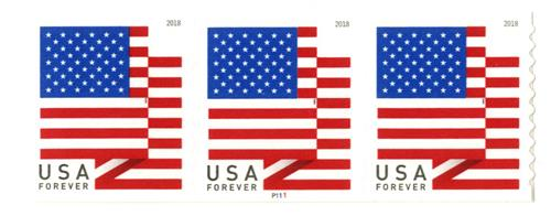 2018 First-Class Forever Stamp - US Flag with Micro Print on Left 4th White Stripe (Ashton Potter coil)