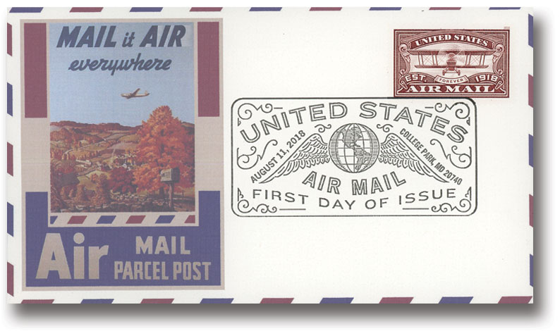 2018 50c Red Airmail Stamp