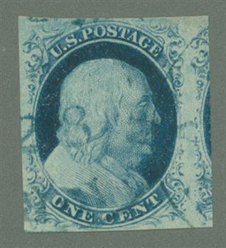 1852 1c Franklin, blue, imperforate, type IV