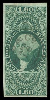1862-71 $1.60 grn,forn exchg,imperf