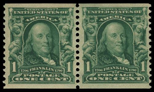 1908 1c Blue Green Franklin Mint Hinged Horizontal Coil Pair