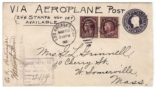 1918 May 20 Cover with two 417s from Los Angeles to Massachusetts