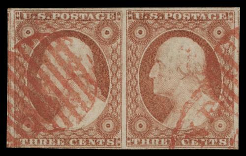 1853-55 3¢ George Washington, dull red, type II, imperf