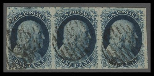 1852 1c Franklin, blue, imperforate, type IV