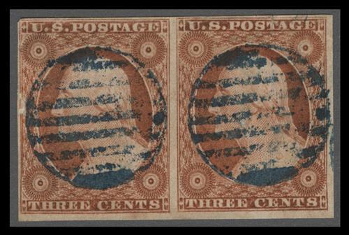 1851 57 3c Washington Orange Brown Imperforate Type Ii