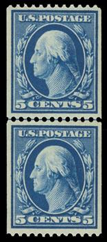 1909 5c Washington, blue, double line watermark