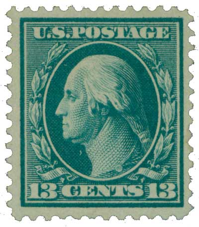 1909 13c Washington, blue green