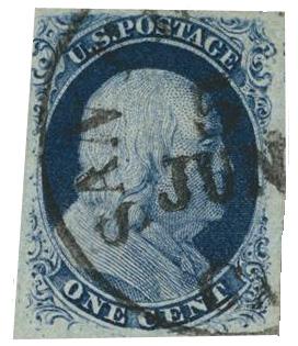 1857 1c Franklin, blue, type III