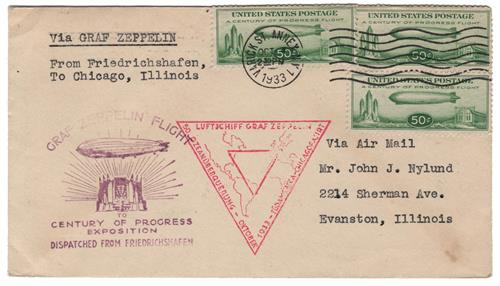 1933 50c Century of Progress Issue #C18 on Flown Cover Dispatched from Freidrichshafen NY Cancel 10/4/1933