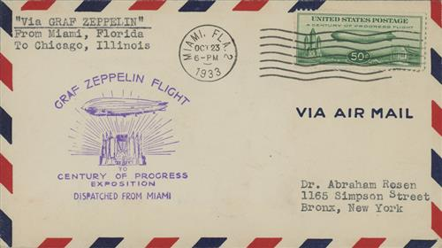 1933 50c Century of Progress Issue #C18 Dispatched from Miami 10/23/1933