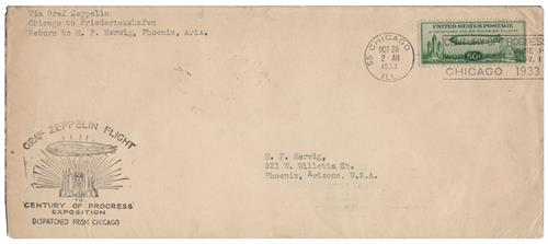 1933 50c Century of Progress Issue #C18 on #10 Flown Cover Dispatched from Chicago 10/26/1933