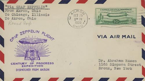 1933 50c Century of Progress Issue #C18 on Flown Cover Dispatched from Akron 10/25/1933 to either Chicago or Akron