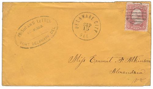 Delaware City Prisoner's Letter Cover Cancelled on September 15