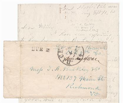 1863 Civil War Prisoner of War Stampless Cover with Copy of Correspondence From Gettysburg