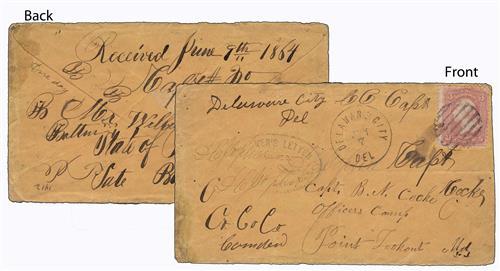 1864 Civil War Prisoner of War Cover from Fort Delaware, Del.