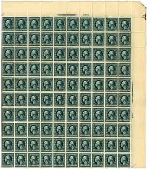 1909 13c Washington, blue green, double line watermark