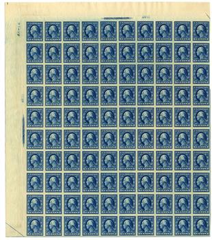 1909 5c Washington, blue, double line watermark, imperforate