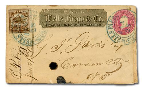 1862-64 Wells, Fargo & Company Cover - #143L7 (Pony Express) tied to U34