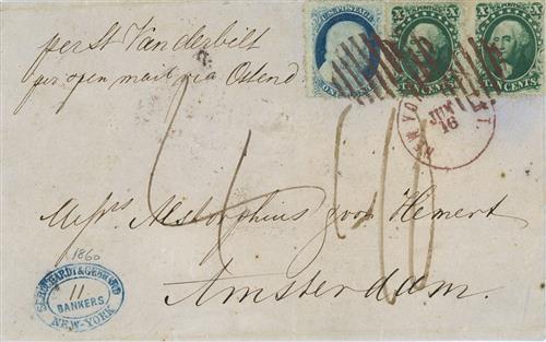1860 10c Washington & 1c Franklin on cover to Amsterdam, brown domestic cancel, red London & orange Amsterdam postmarks