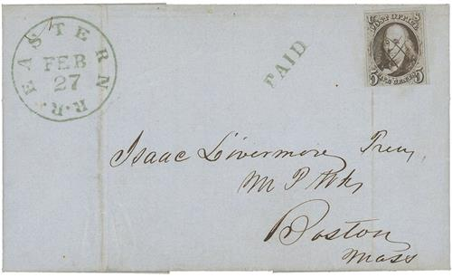 1847 #1 Cover or Folded Letter, Railroad Cancel with small flaws