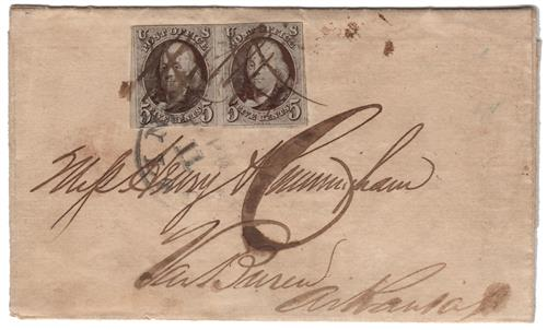 1847 #1 Pair on Folded Letter with small flaws